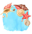 background with seashells tropical underwater vector image