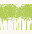 background with silhouettes of young green trees vector image