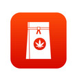 bag with cannabis icon digital red vector image vector image