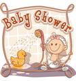 bashower cartoon invitation vector image vector image
