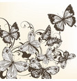 beautiful background with monochromic butterflies vector image vector image