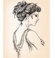 Beautiful girl Bride Bridal hair vector image vector image