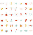 big set colorful icons for st valentines day vector image vector image