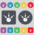 bowling icon sign A set of 12 colored buttons Flat vector image vector image