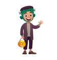 cartoon character child in costume frankenstein vector image vector image