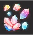 cartoon fairy gems and diamonds icons set vector image