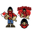cartoon mascot lumberjack in bundle vector image vector image