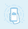 cloud icon on smartphone screen vector image