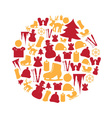 color winter and xmas icon set in circle eps10 vector image vector image