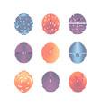 colorful fingerprints icons - biometric info vector image