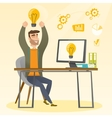 Creative excited businessman having business idea vector image vector image