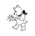 cute bear cartoon outlined cartoon handrawn vector image vector image