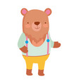 cute bear with clothes cartoon character on white vector image vector image
