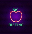dieting food neon label vector image