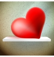 Empty shelf with red heart vector image