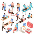 first aid isometric set vector image vector image