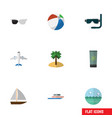 flat icon summer set of coconut ocean sphere and vector image