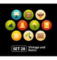 Flat icons set 28 - vintage collection vector image vector image