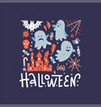 flying ghost spirit greeting card happy halloween vector image vector image