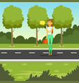 girl walking in the park and using smartphone to vector image