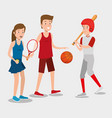 group of athletes practicing sport vector image vector image