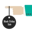 hand holding label of black friday vector image vector image