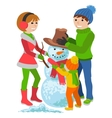 Happy family sculpts snowman Merry Christmas vector image vector image