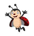 happy ladybug cartoon waving hand vector image vector image