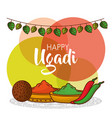happy ugadi greeting card with decorative spices vector image vector image