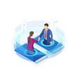 isometric business handshake global online vector image vector image