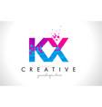 kx k x letter logo with shattered broken blue vector image vector image