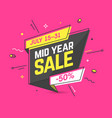 mid year sale banner template in flat trendy vector image