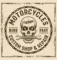 motorcycles custom shop vintage emblem with skull vector image