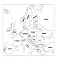 outline map of europe simplified wireframe map of vector image vector image