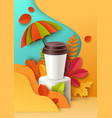 plastic disposable cup on display podium paper vector image