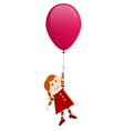 Redhaired girl flying on a balloon vector image vector image