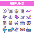 refund e-payment system linear icons set vector image vector image