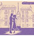 Romantic Valentine retro postcard vector image vector image