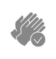 rubber gloves with tick checkmark gray icon hand vector image