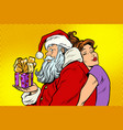 santa claus and beautiful woman a surprise vector image