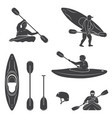 set extrema water sports equipment kayaker and vector image
