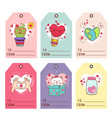 set isolated gift valentines day tags vector image