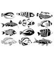 set of aquarium fish black and white design vector image vector image