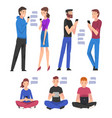 set people with smartphones young men and vector image vector image