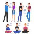 set people with smartphones young men vector image