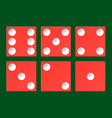 set red casino dice top view isolated on vector image vector image