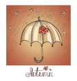 Sketch of an umbrella in the rain vector image
