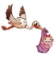 Stork and neewborn baby