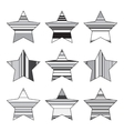Striped Black And White Star Icon Set vector image vector image