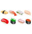 sushi different colorful isolated vector image vector image